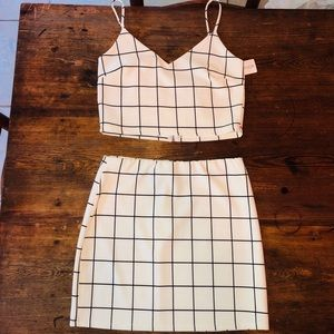 Blue Blush Los Angeles two piece skirt set